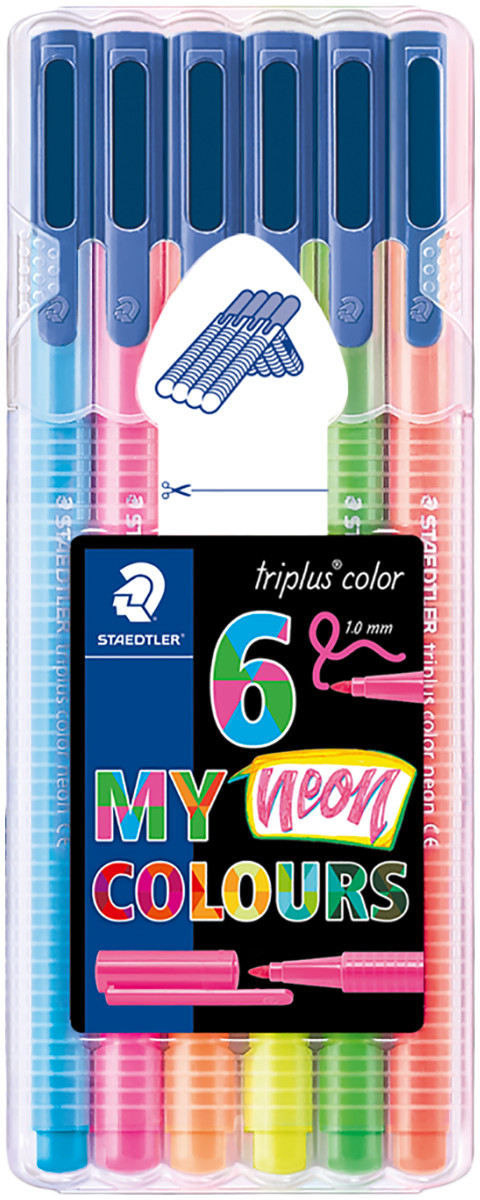 Staedtler Triplus Triangular Fineliner Pens - Assorted Neon Colours (Wallet of 6)