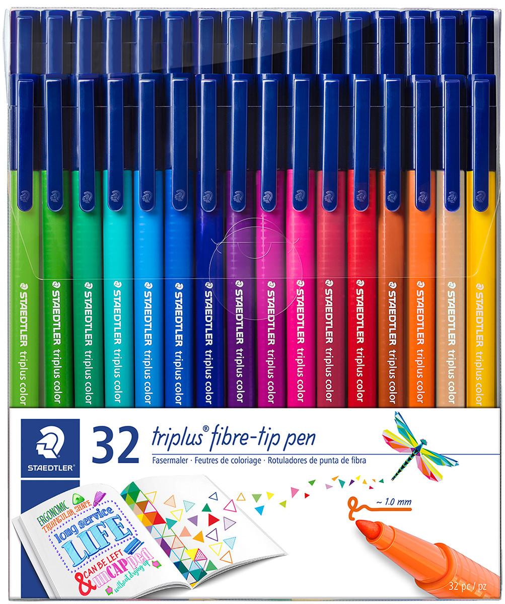 Staedtler Triplus Fibre Tip Pens - Assorted Colours (Wallet of 32)