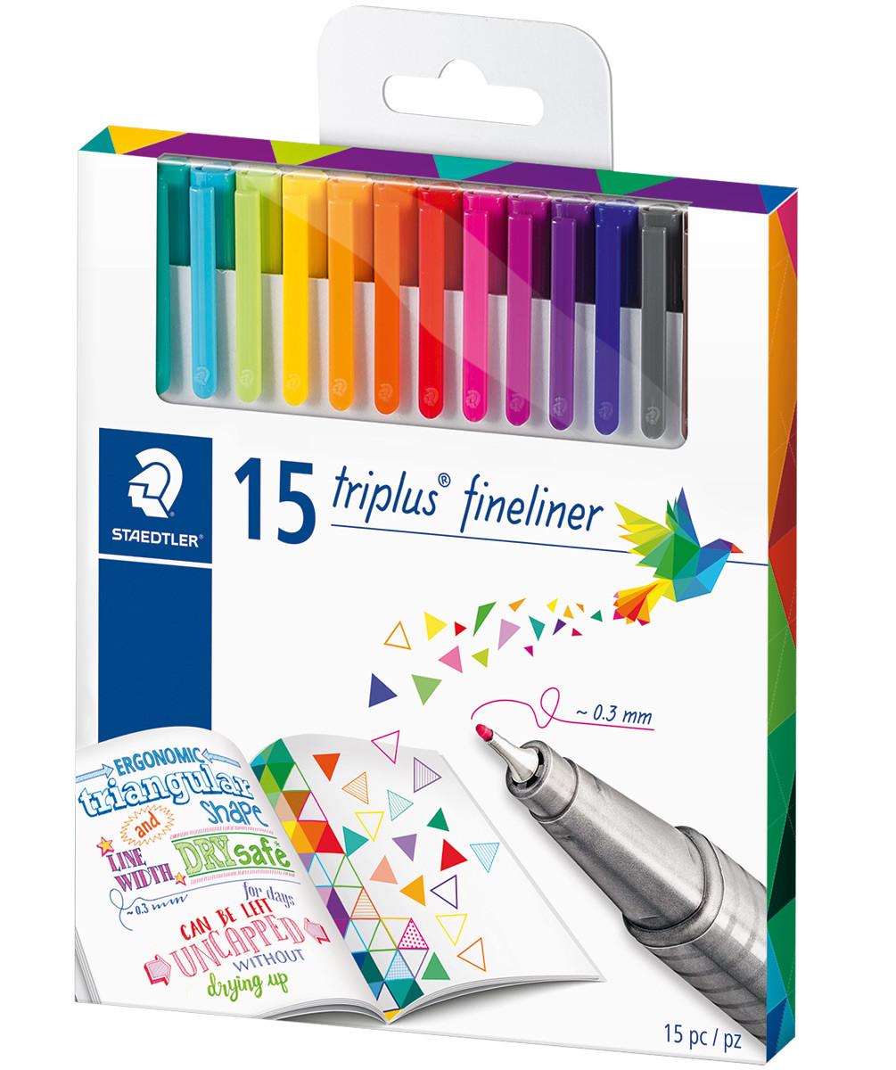 Staedtler Triplus Fineliner Pens - Assorted Colours (Pack of 15)