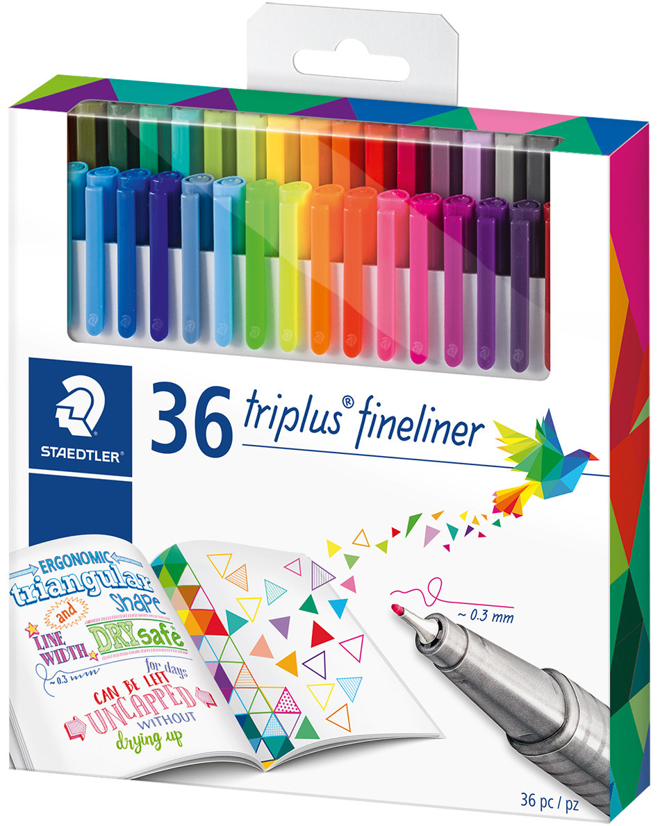 Staedtler Triplus Fineliner Pens - Assorted Colours (Pack of 36)