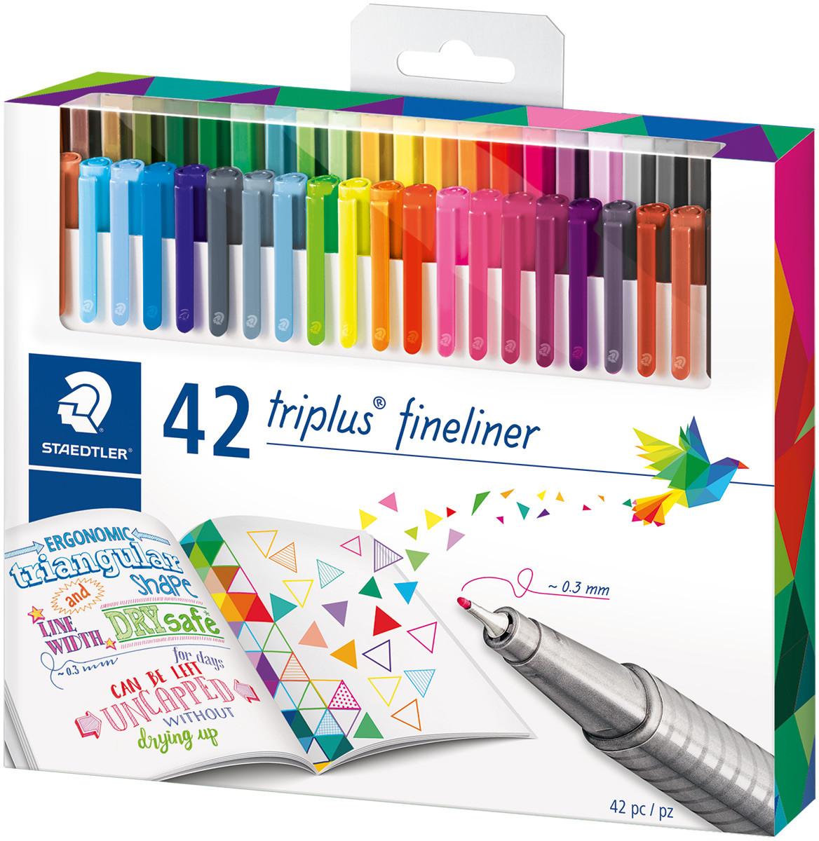 Staedtler Triplus Fineliner Pens - Assorted Colours (Pack of 42)