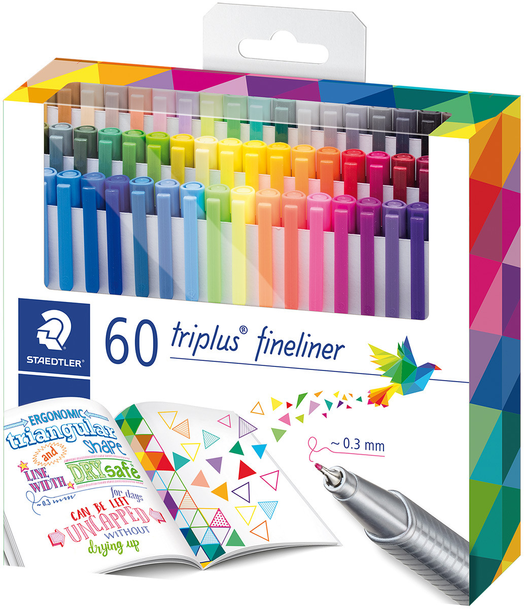 Staedtler Triplus Fineliner Pens - Assorted Colours (Pack of 60)