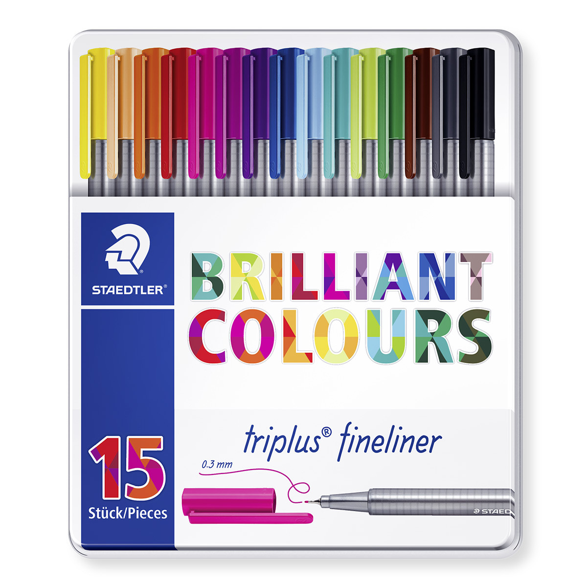 Staedtler Triplus Fineliner Pens - Assorted Colours (Tin of 15)