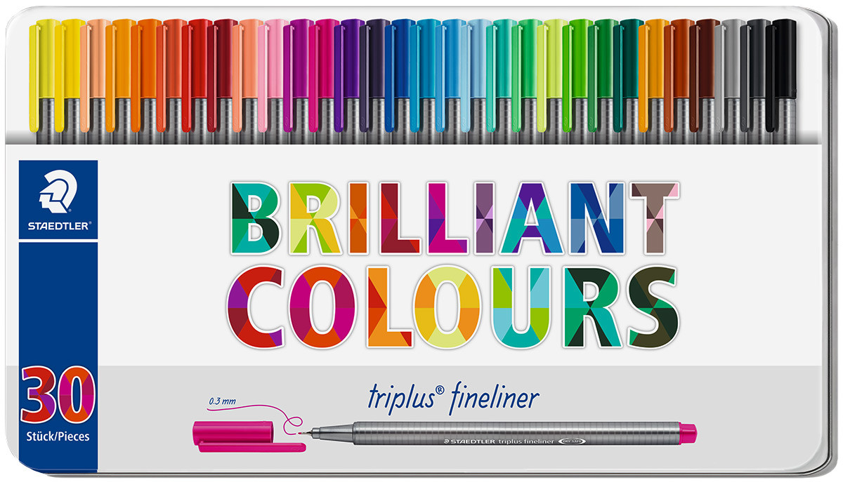 Staedtler Triplus Fineliner Pens - Assorted Colours (Tin of 30)