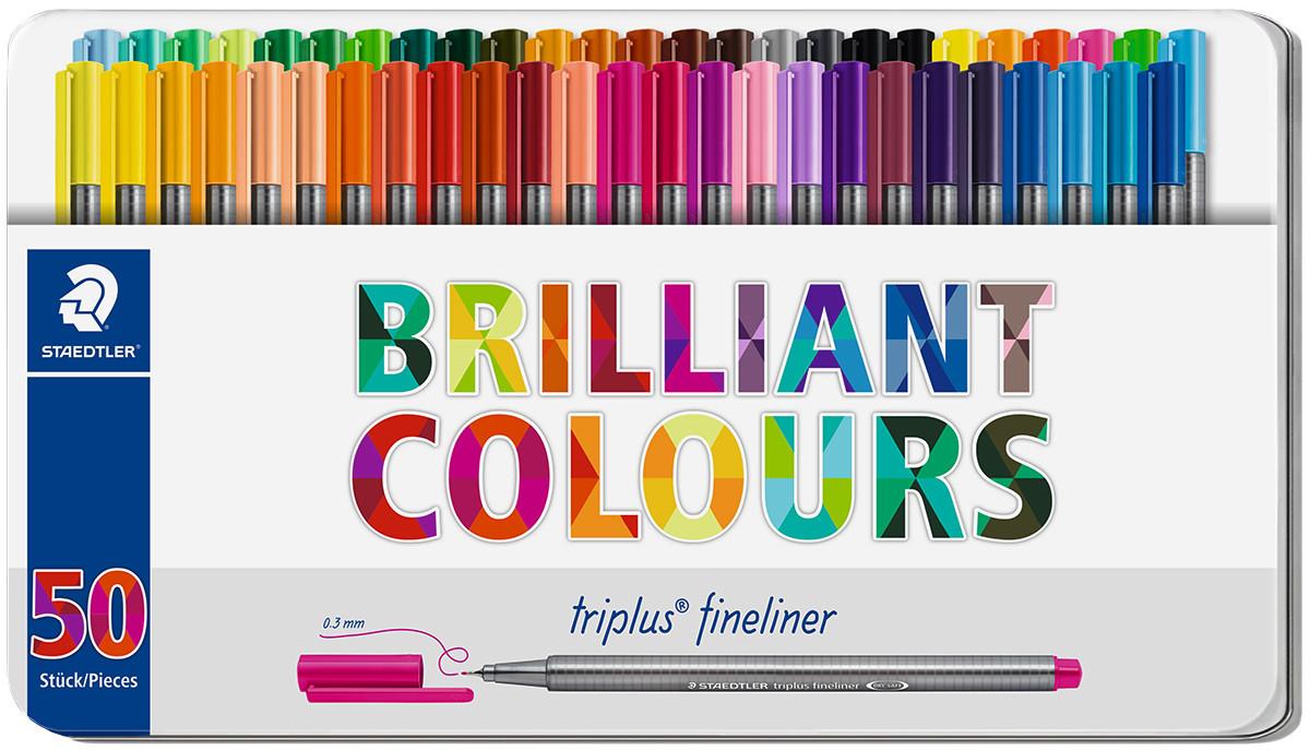 Staedtler Triplus Fineliner Pens - Assorted Colours (Tin of 50)