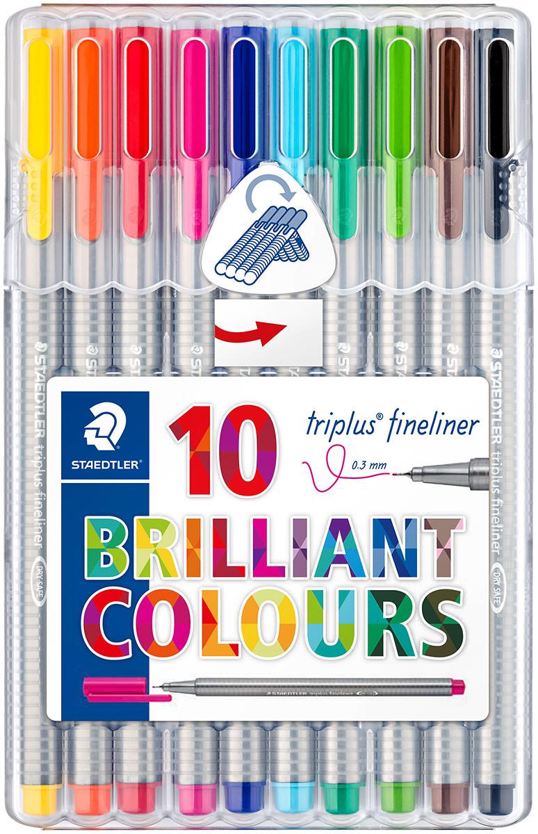 Staedtler Triplus Fineliner Pen - Assorted Colours (Pack of 10)