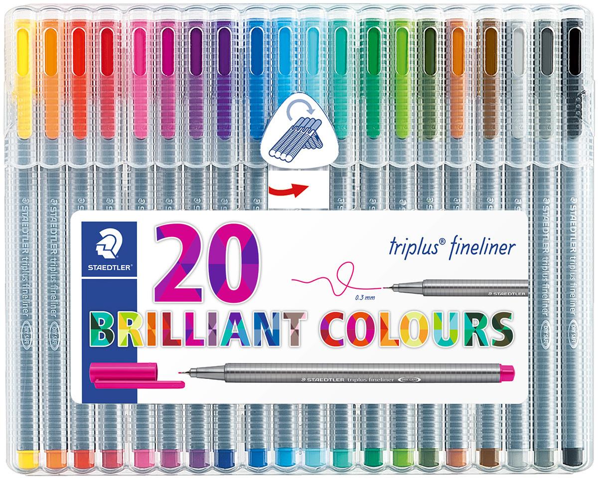 Staedtler Triplus Fineliner Pen - Assorted Colours (Pack of 20)
