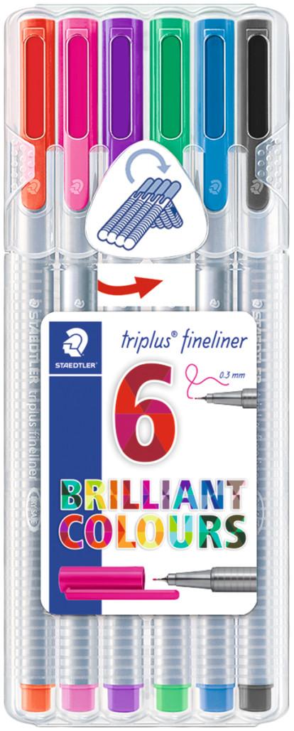 Staedtler Triplus Fineliner Pen - Assorted Colours (Pack of 6)