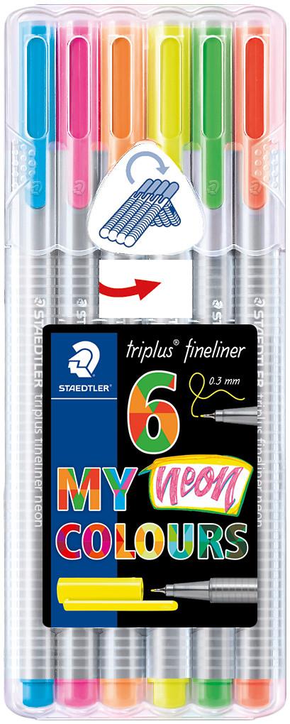 Staedtler Triplus Fineliner Pen - Assorted Neon Colours (Pack of 6)