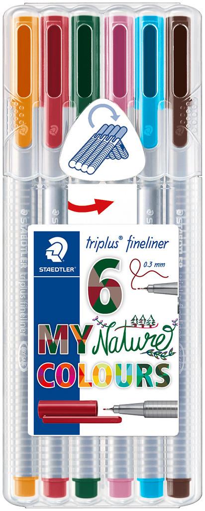Staedtler Triplus Fineliner Pens - Assorted Nature Colours (Pack of 6)