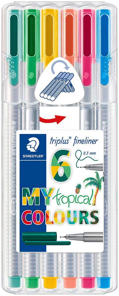 Staedtler Triplus Fineliner Pens - Assorted Tropical Colours (Pack of 6)