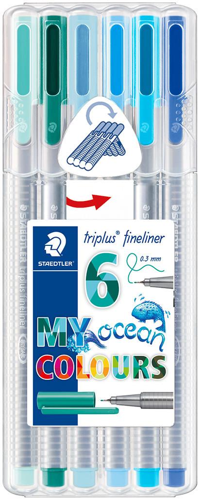 Staedtler Triplus Fineliner Pens - Assorted Ocean Colours (Pack of 6)