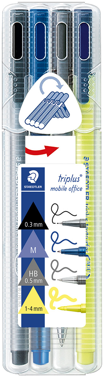 Staedtler Triplus Mobile Office Set - Assorted Colours (Pack of 4)