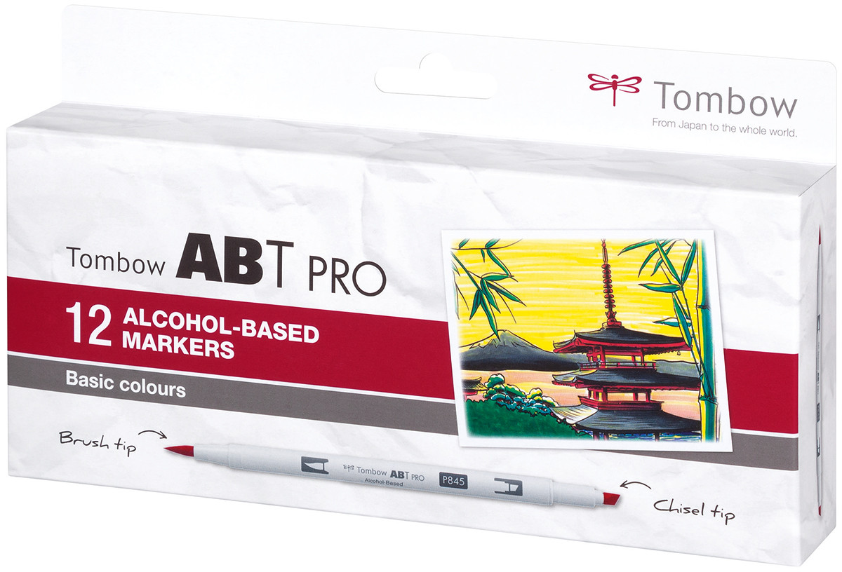 Tombow ABT PRO Markers - Basic Colours (Pack of 12)