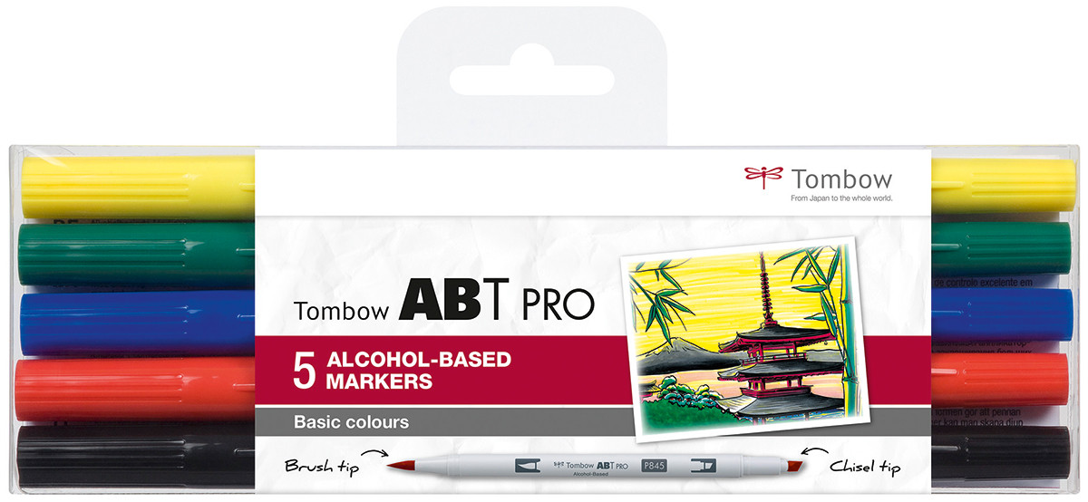 Tombow ABT PRO Markers - Basic Colours (Pack of 5)