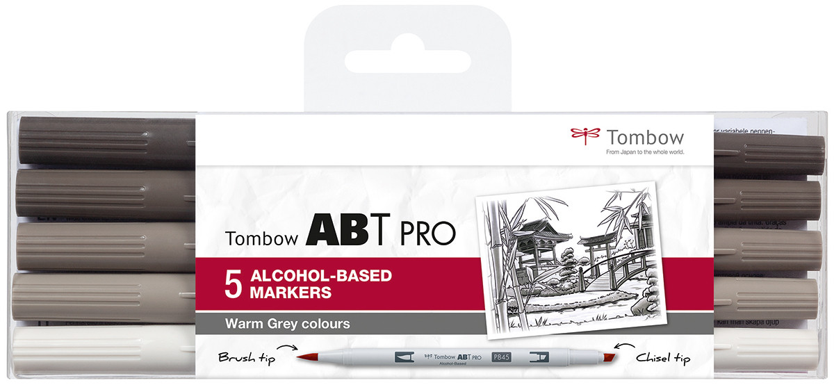 Tombow ABT PRO Markers - Warm Grey Colours (Pack of 5)