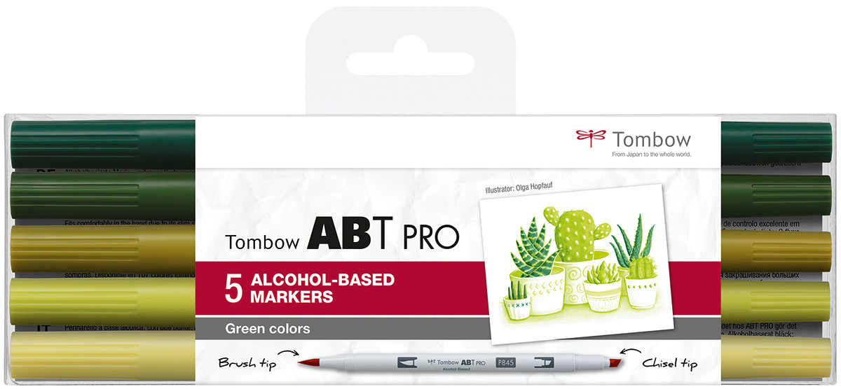 Tombow ABT PRO Markers - Green Colours (Pack of 5)