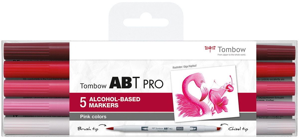 Tombow ABT PRO Markers - Pink Colours (Pack of 5)