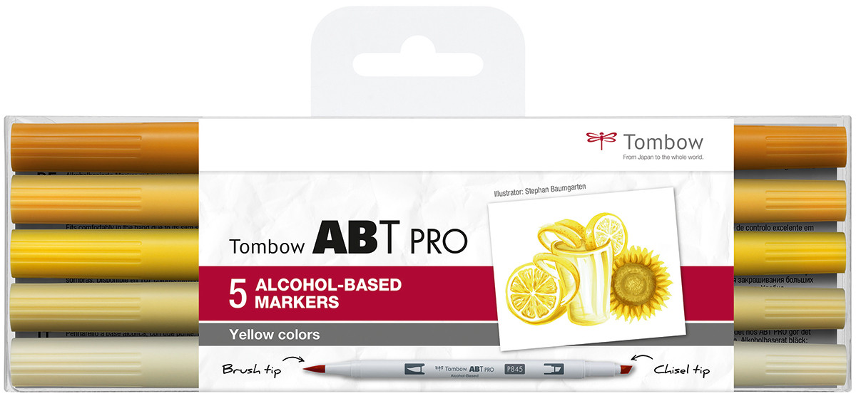 Tombow ABT PRO Markers - Yellow Colours (Pack of 5)
