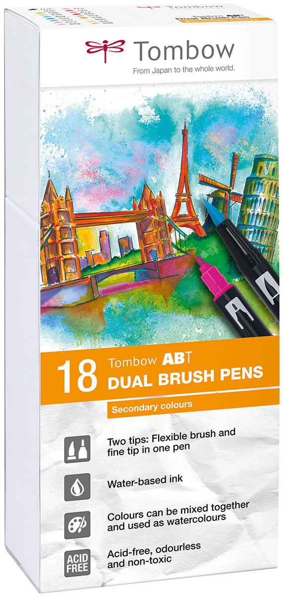 Tombow ABT Dual Brush Pens - Secondary Colours (Pack of 18)