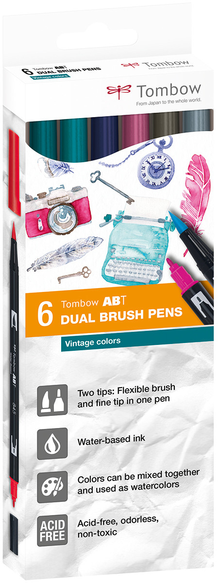 Tombow ABT Dual Brush Pens - Sunset Colours (Pack of 6)