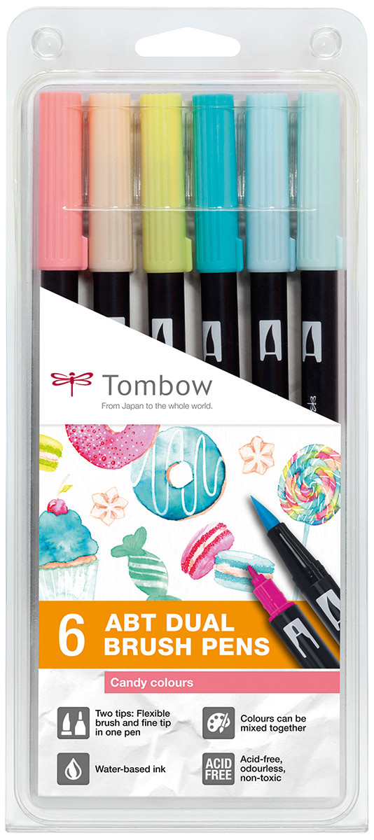 Tombow ABT Dual Brush Pens - Candy Colours (Pack of 6)