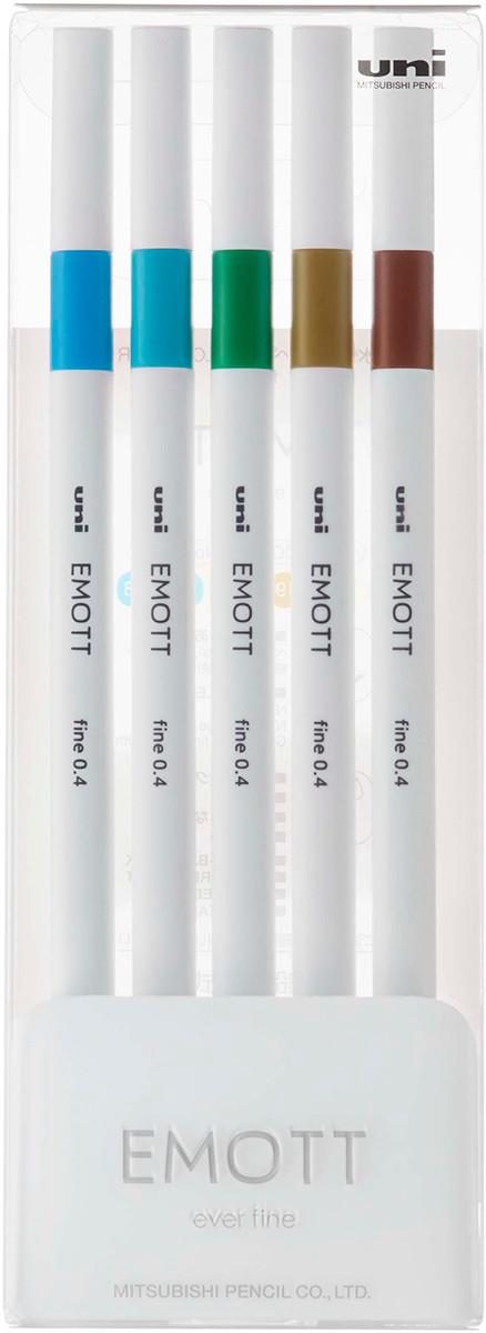 Uni-Ball PEM-SY Emott Fineliner Pens - Island Colours (Pack of 5)