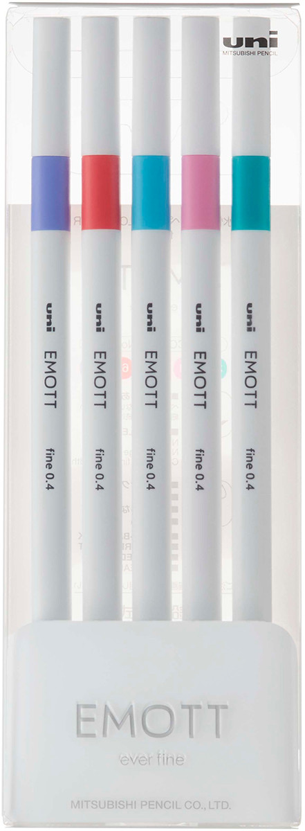 Uni-Ball PEM-SY Emott Fineliner Pens - Candy Pop Colours (Pack of 5)