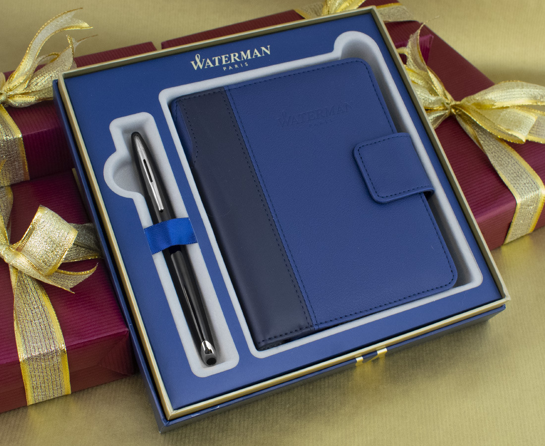 Waterman Carene Fountain Pen - Black Sea Chrome Trim in Luxury Gift Box with Free Personal Organiser