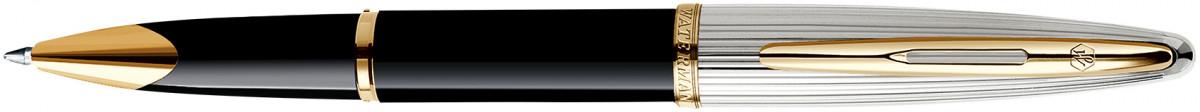 Waterman Carene Ballpoint Pen - Deluxe Black & Silver Gold Trim