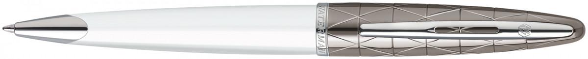 Waterman Carene Ballpoint Pen - Contemporary White and Gunmetal Chrome Trim