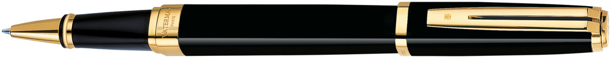 Waterman Exception Rollerball Pen - Ideal Black Gold Trim