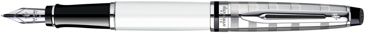 Waterman Expert Fountain Pen - Deluxe White Chrome Trim