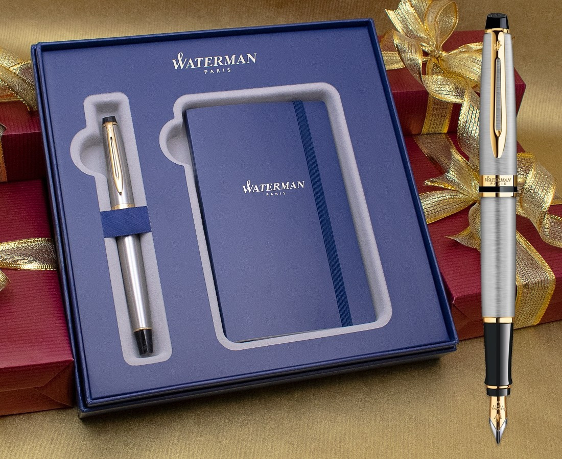 Waterman Expert Fountain Pen - Stainless Steel Gold Trim in Luxury Gift Box with Free Notebook