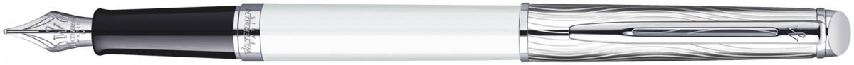 Waterman Hemisphere Fountain Pen - Deluxe White Chrome Trim