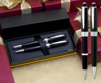 Cross Bailey Fountain & Ballpoint Pen Set - Black Lacquer Chrome Trim