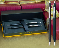 Cross Classic Century Ballpoint Pen & Pencil Set - Black Lacquer Chrome Trim