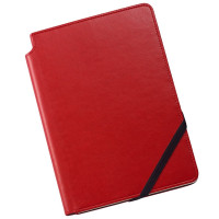 Cross Ruled Leather Journal - Crimson Red - Medium