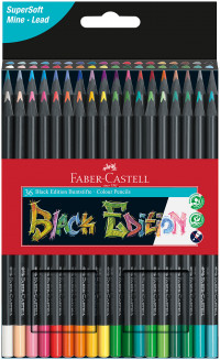 Faber-Castell Black Edition Colouring Pencils - Assorted Colours (Pack of 36)