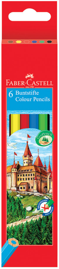 Faber-Castell Classic Colouring Pencils - Assorted Colours (Pack of 6)