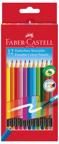 Faber-Castell Erasable Colouring Pencils - Assorted Colours (Pack of 12)