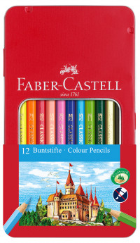 Faber-Castell Hexagonal Colouring Pencils - Assorted Colours (Tin of 12)