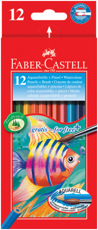 Faber-Castell Aquarelle Watercolour Pencils - Assorted Colours (Pack of 12)