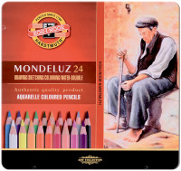 Koh-I-Noor 3724 Aquarell Coloured Pencils - Assorted Colours (Tin of 24)