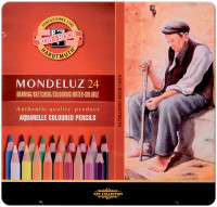 Koh-I-Noor 3724 Aquarell Coloured Pencils - Assorted Colours (Blister Tin of 24)