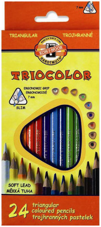 Koh-I-Noor 3134 Triangular Coloured Pencils - Assorted Colours (Pack of 24)
