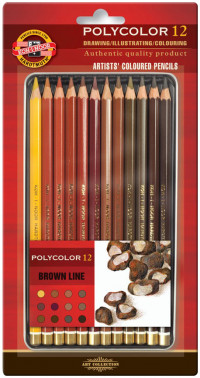 Koh-I-Noor 3822 Coloured Pencils - Assorted Brown Colours (Blister Tin of 12)