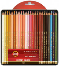 Koh-I-Noor 3824 Coloured Pencils - Assorted Portrait Colours (Blister Tin of 24)