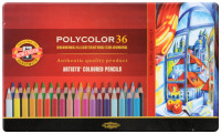 Koh-I-Noor 3825 Coloured Pencils - Assorted Colours (Tin of 36)