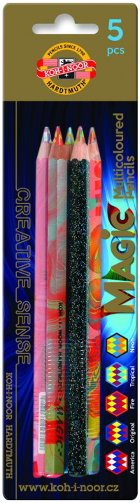 Koh-I-Noor 3406 Jumbo Special Coloured Magic Pencils - Assorted Colours (Blister of 5)